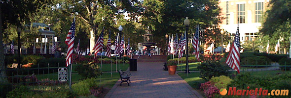 Marietta Square Decorated with American Flags