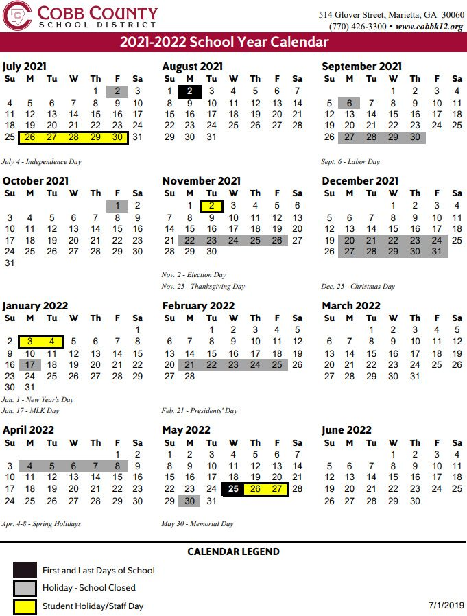 Calendar School Year 2021-22 Cobb County School Calendar 2021 2022 | Marietta.com
