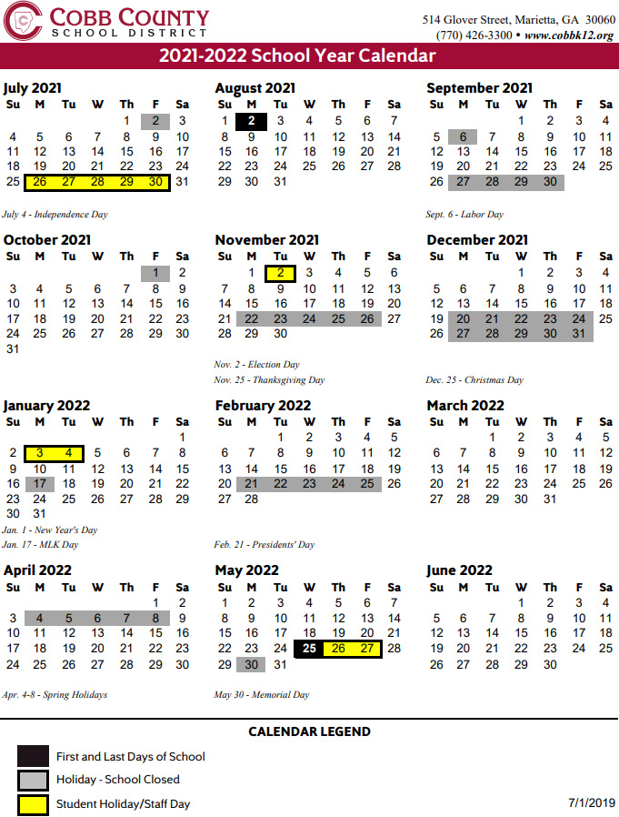 Cobb County School Calendar 2021 Cobb County School Calendar 2021 2022 | Marietta.com