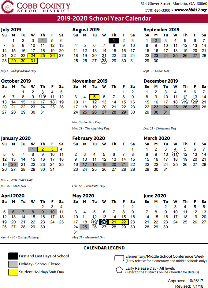 Calendario Estate 2020.Cobb County School Calendar 2019 2020 Marietta Com