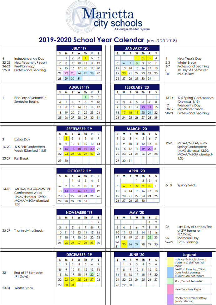 Calendario Estate 2020.Marietta City School Calendar 2019 2020 Marietta Com