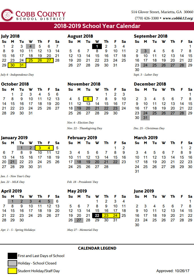 Calendario 3018.Cobb County School Calendar 2018 2019 Marietta Com