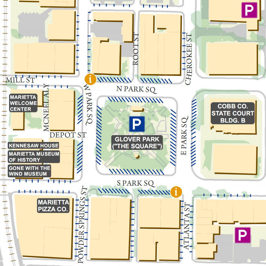 Free parking available around Glover Park at the center of Marietta Square