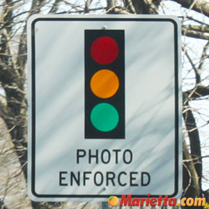 Photo Enforced - Red Light Camera Warning Sign